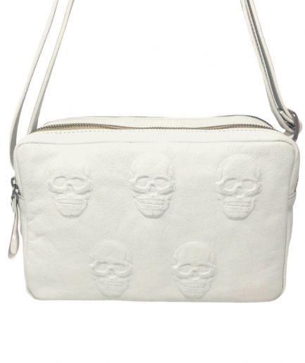 mini bag bianca con teschi 3d