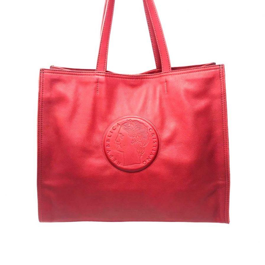 borsa a spalla vera pelle rossa 100 lire